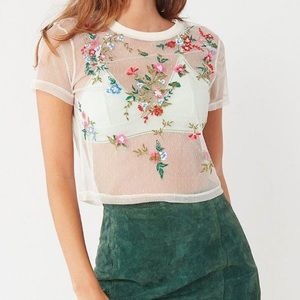 Urban outfitters mesh floral top